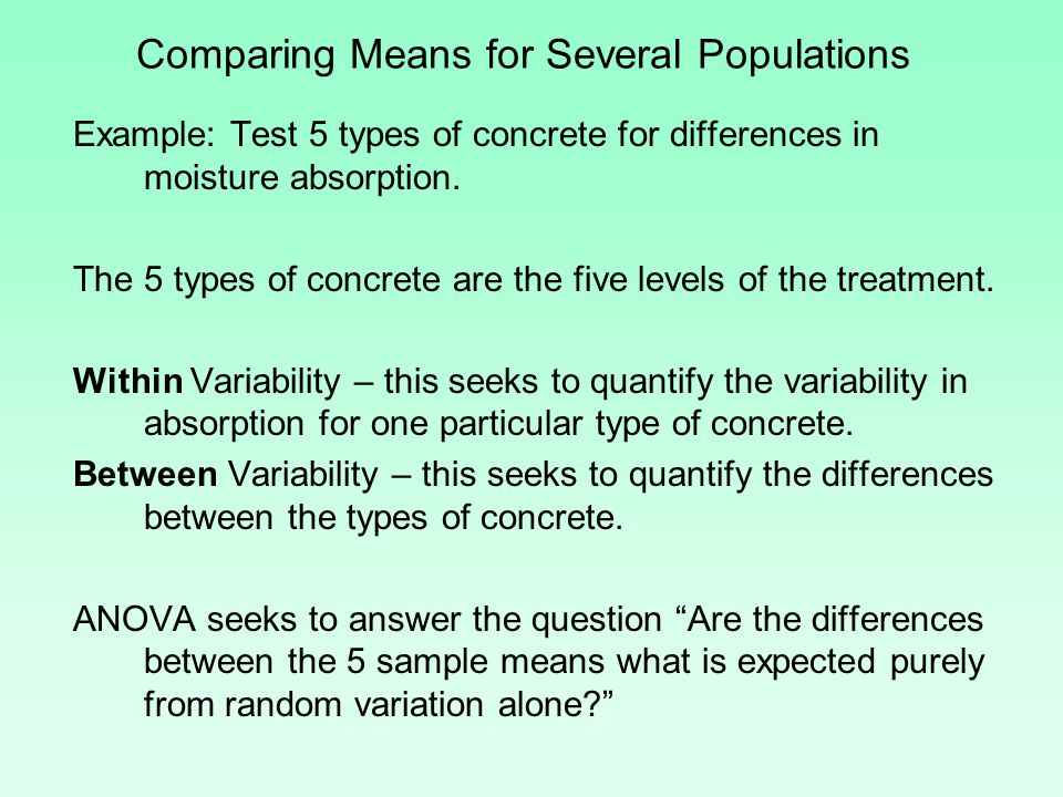 Comparing Means for Several Populations