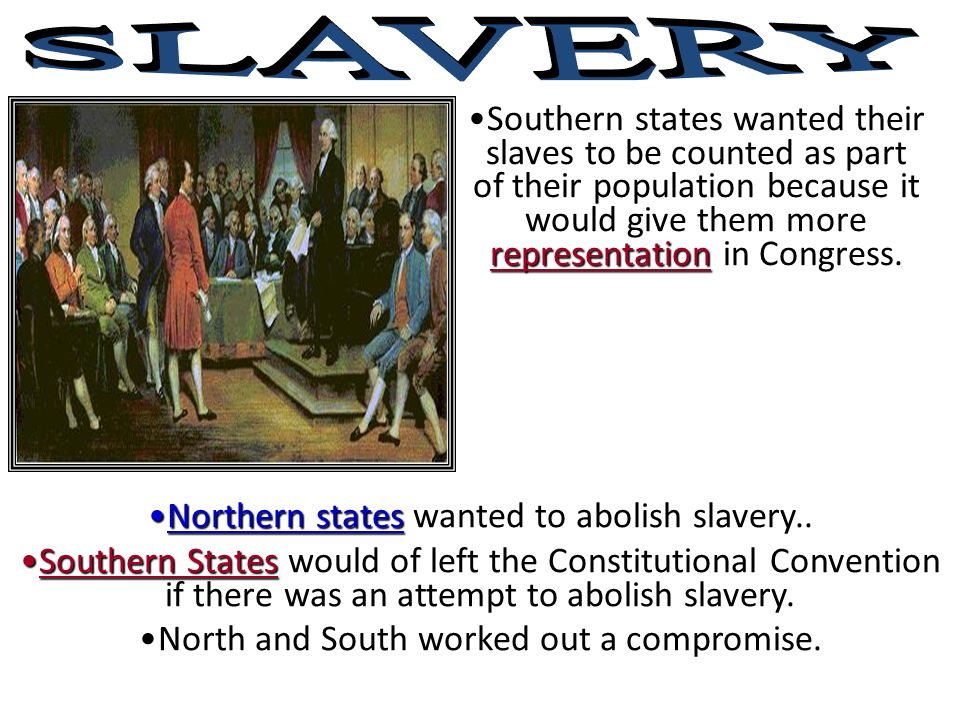 SLAVERY Southern states wanted their slaves to be counted as part of their population because it would give them more representation in Congress.