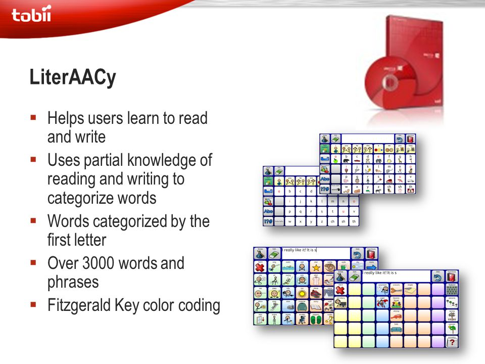 LiterAACy Helps users learn to read and write
