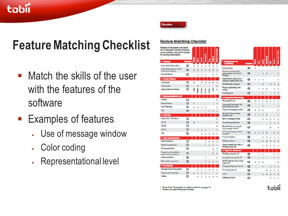 Feature Matching Checklist