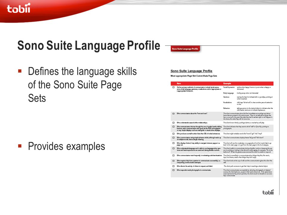 Sono Suite Language Profile