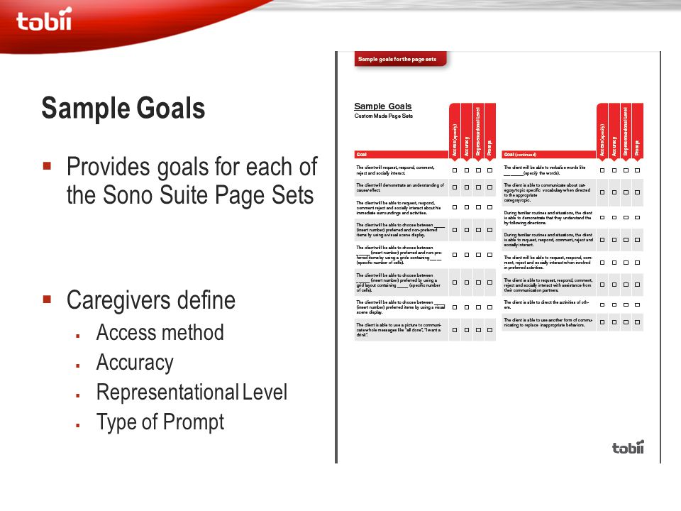 Sample Goals Provides goals for each of the Sono Suite Page Sets