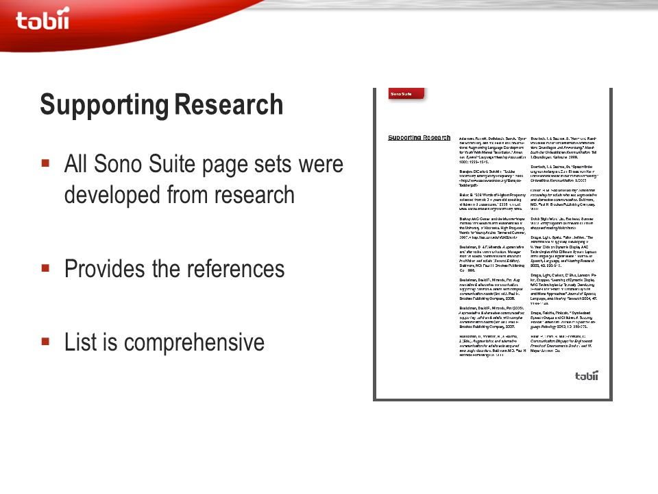 Supporting Research All Sono Suite page sets were developed from research. Provides the references.