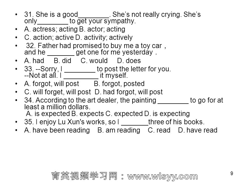 31. She is a good________. She's not really crying