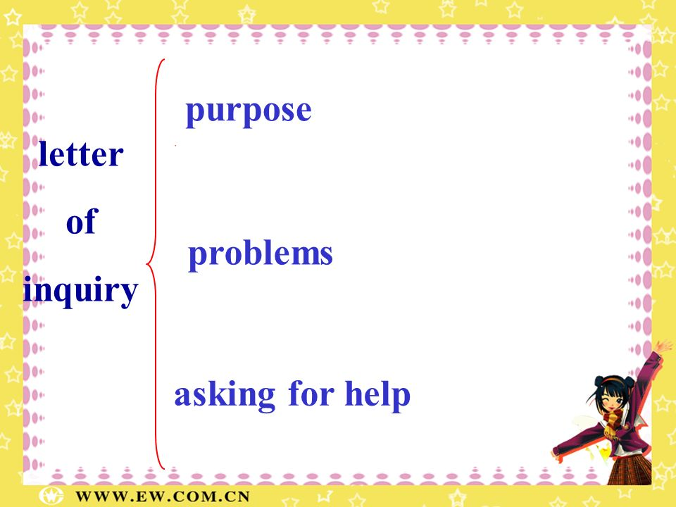 purpose letter of inquiry problems asking for help