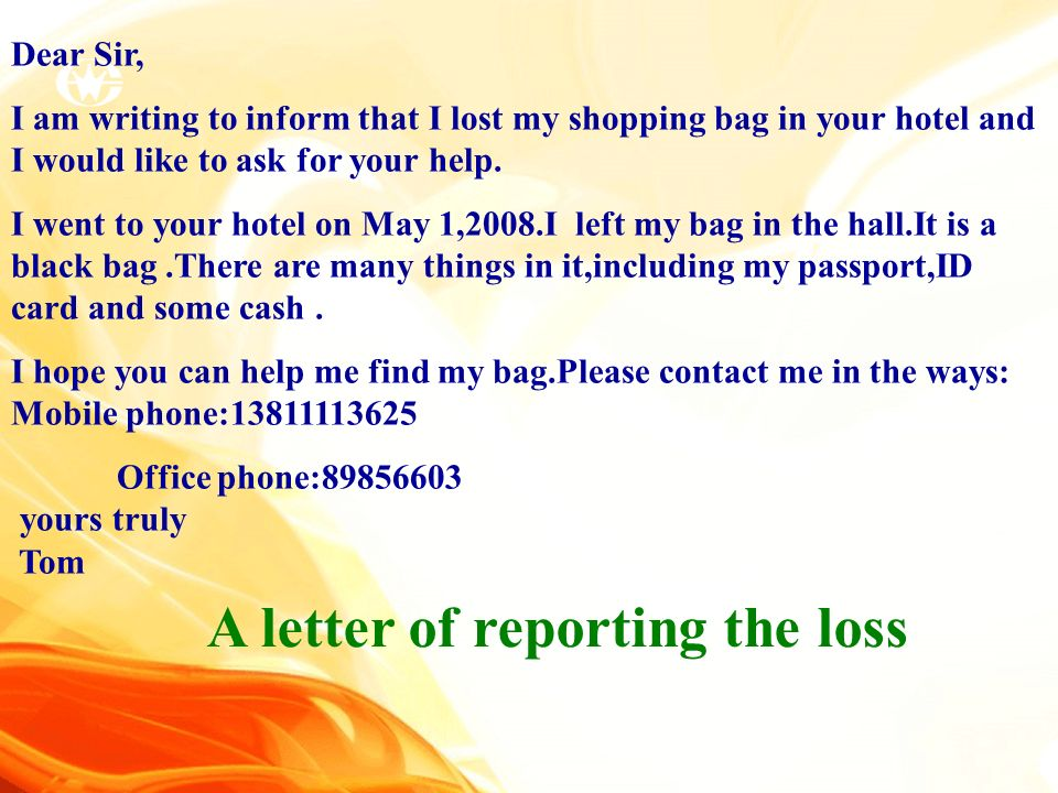A letter of reporting the loss