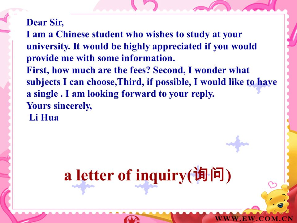 a letter of inquiry(询问)