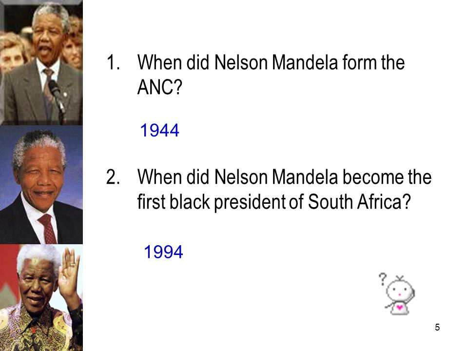 When did Nelson Mandela form the ANC