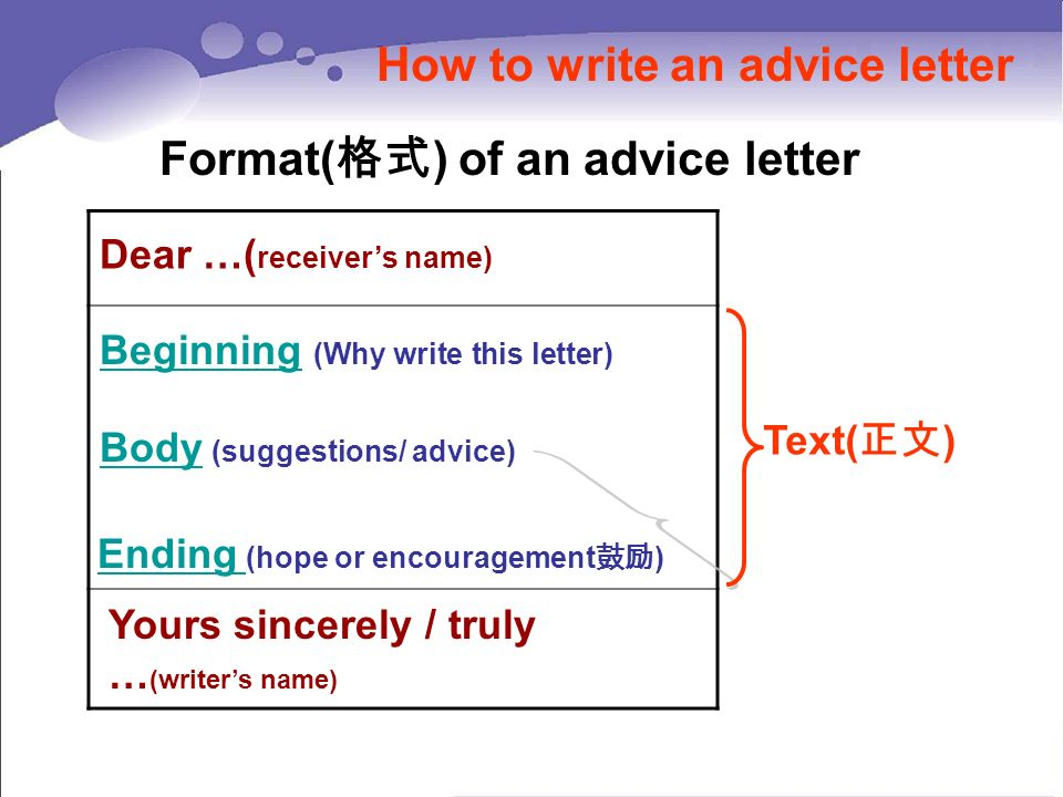 Project Writing An Advice Letter  Unit    Ppt