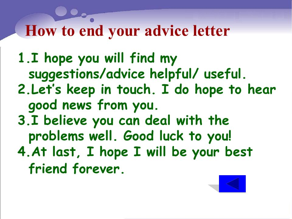 Project Writing An Advice Letter  Unit