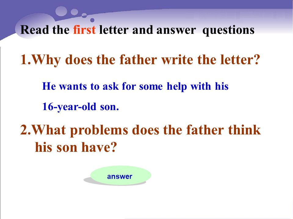 Why does the father write the letter