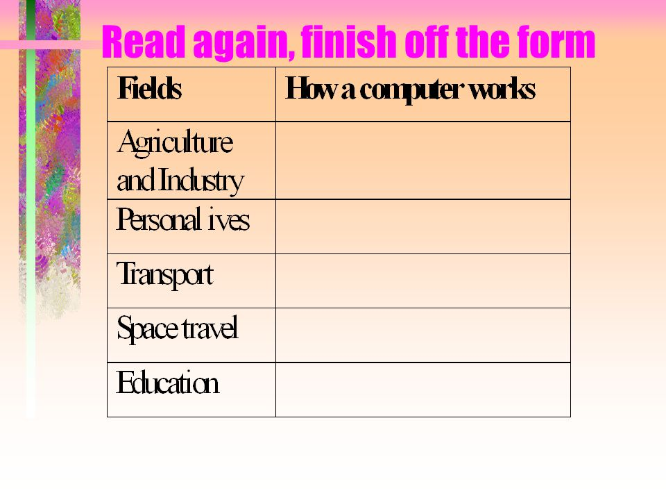 Read again, finish off the form