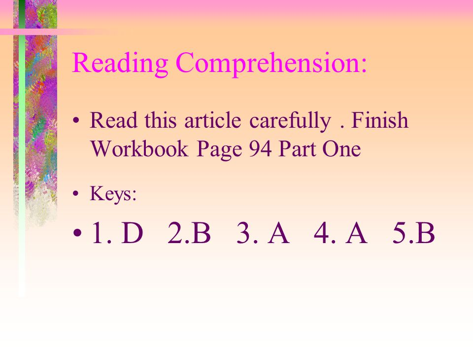 Reading Comprehension: