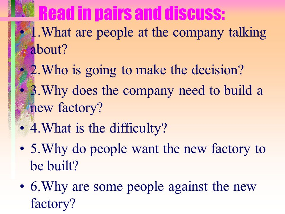 Read in pairs and discuss: