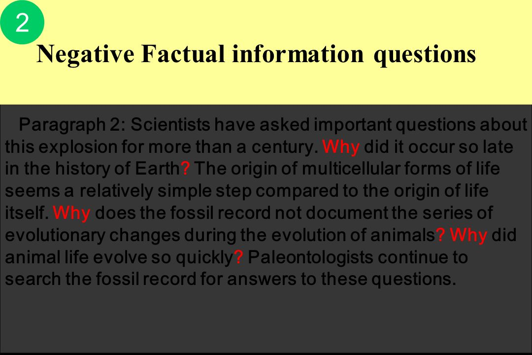 Negative Factual information questions