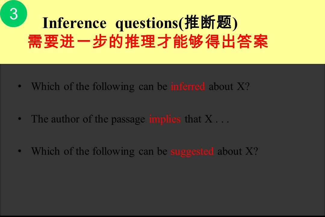 3 需要进一步的推理才能够得出答案 Which of the following can be inferred about X
