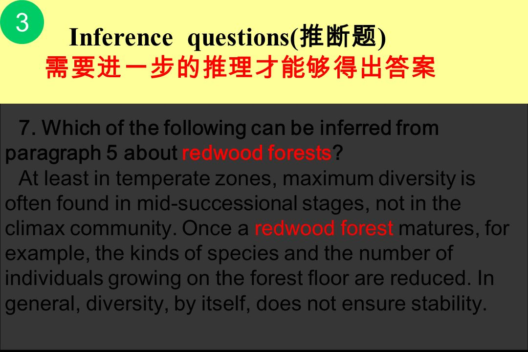 7. Which of the following can be inferred from paragraph 5 about redwood forests
