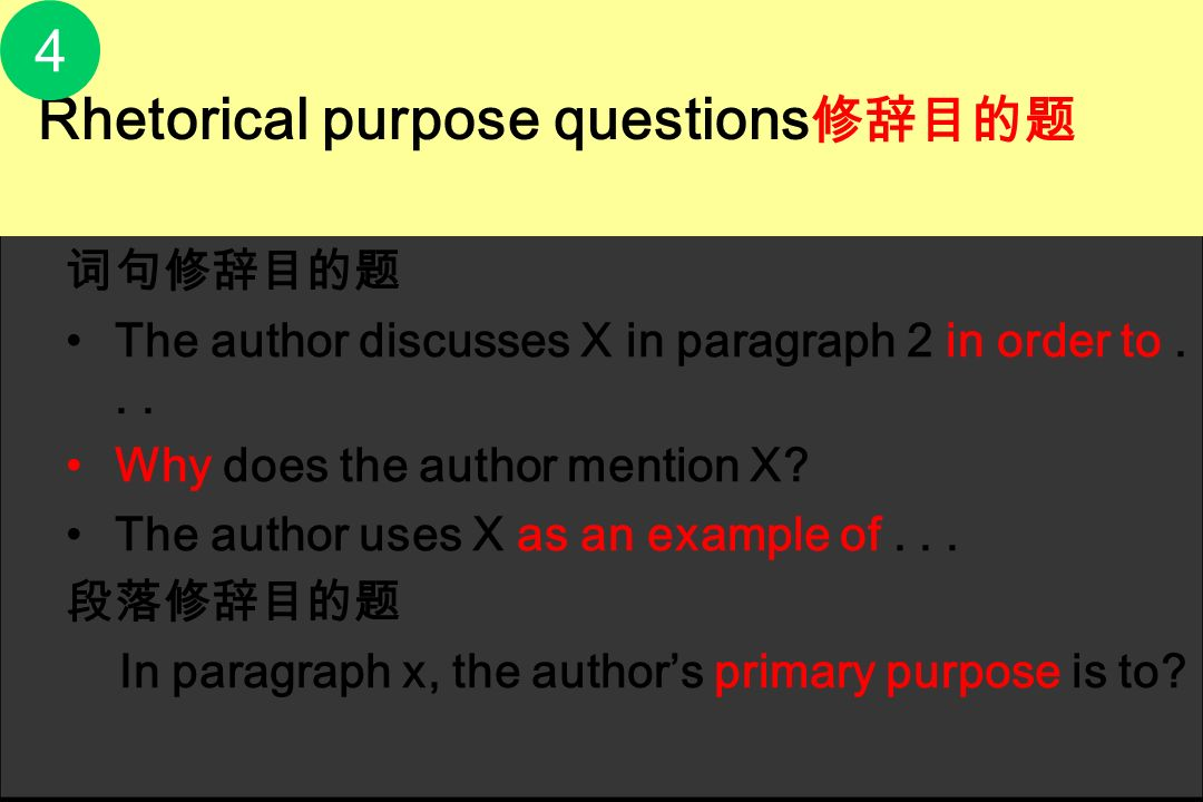 4 词句修辞目的题 The author discusses X in paragraph 2 in order to . . .