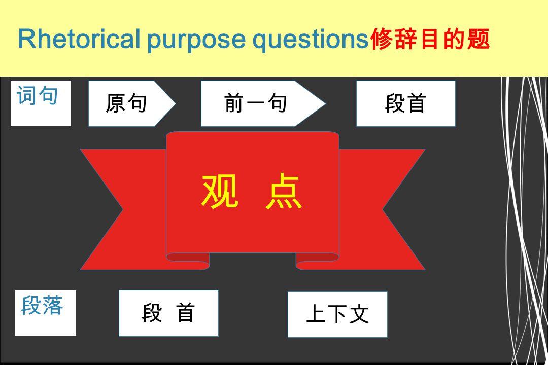 观 点 修辞目的题(1.5) 词句 原句 前一句 段首 段落 段 首 上下文