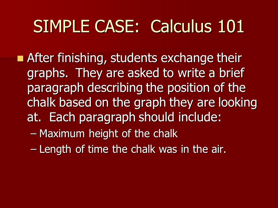SIMPLE CASE: Calculus 101