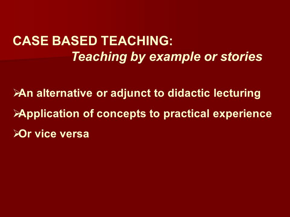 Teaching by example or stories