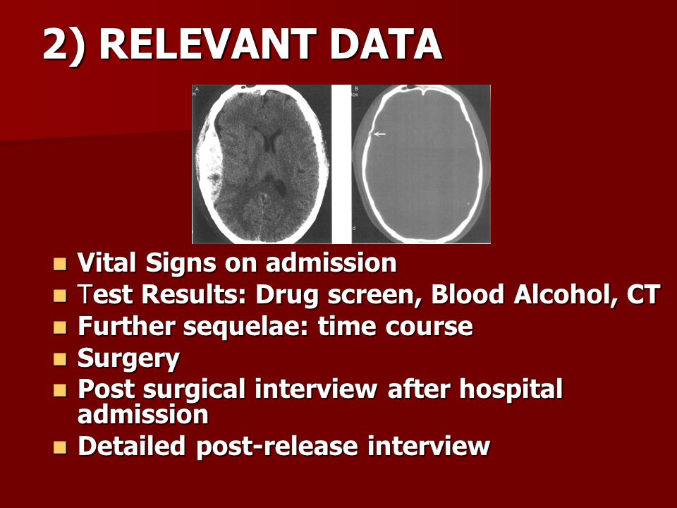2) RELEVANT DATA Vital Signs on admission