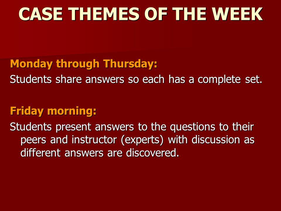 CASE THEMES OF THE WEEK Monday through Thursday: