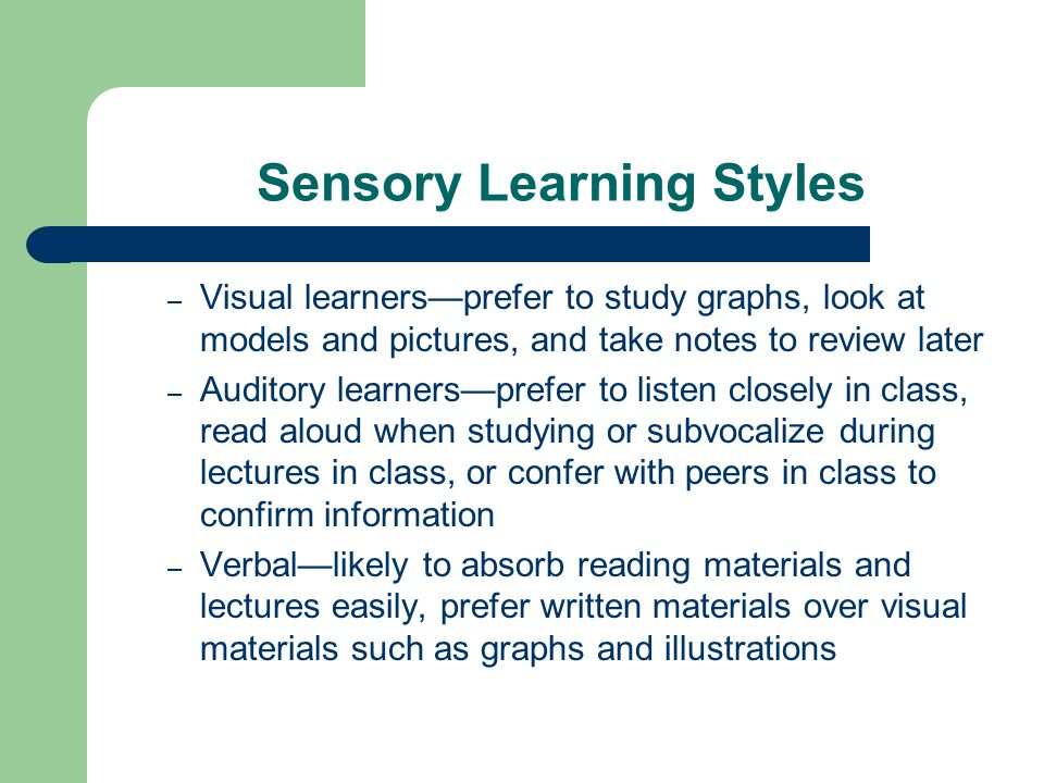 Sensory Learning Styles