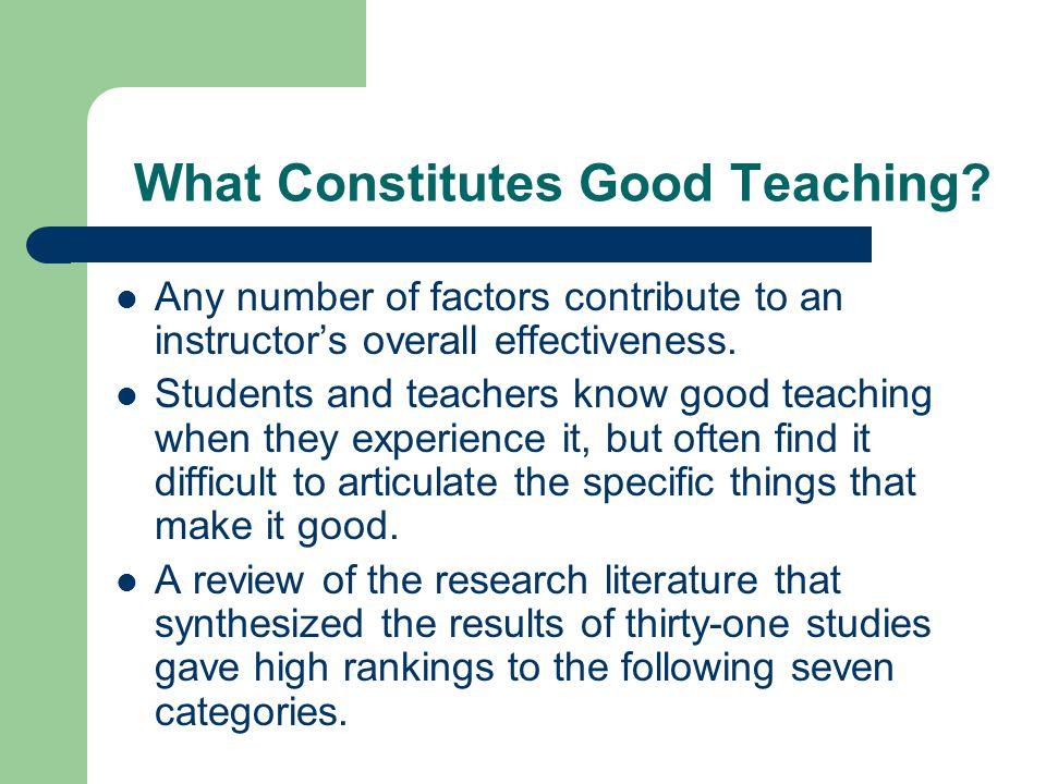 What Constitutes Good Teaching
