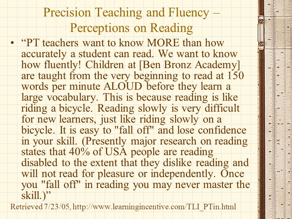 Precision Teaching and Fluency – Perceptions on Reading