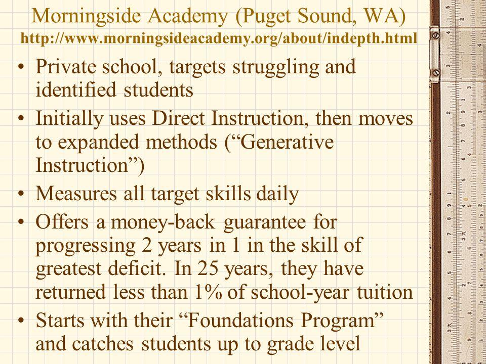 Morningside Academy (Puget Sound, WA) http://www. morningsideacademy