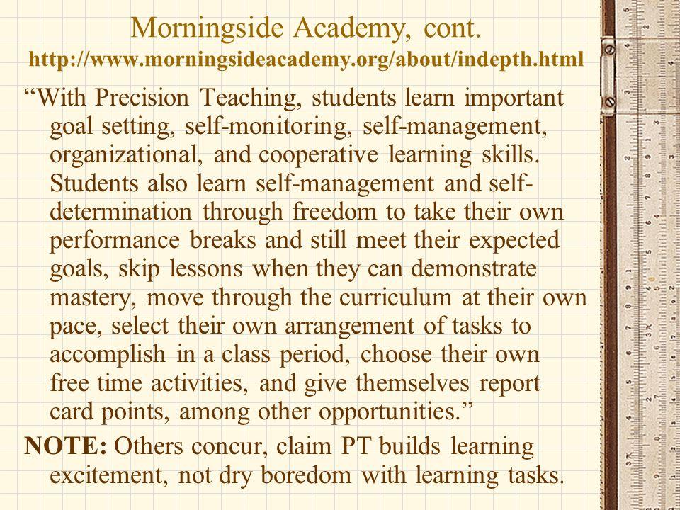 Morningside Academy, cont. http://www. morningsideacademy