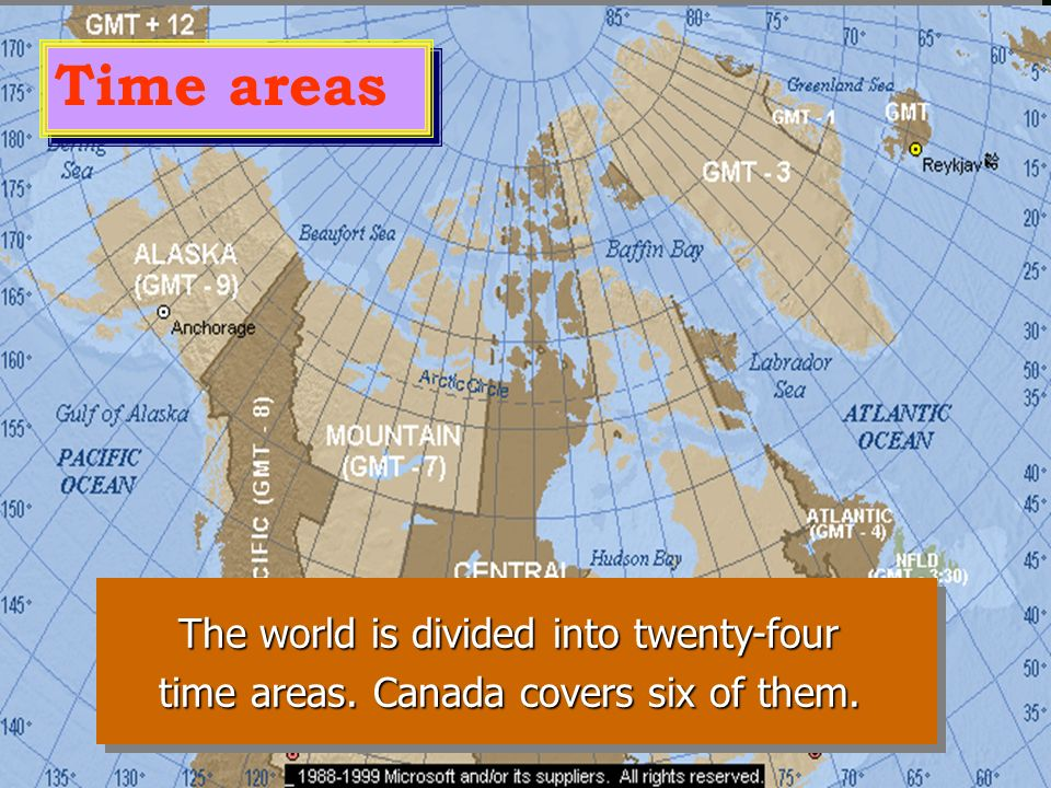 Time areas The world is divided into twenty-four