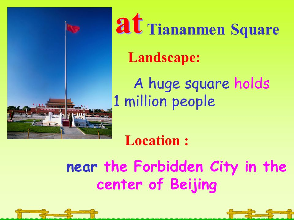 at Tiananmen Square Landscape: A huge square holds 1 million people