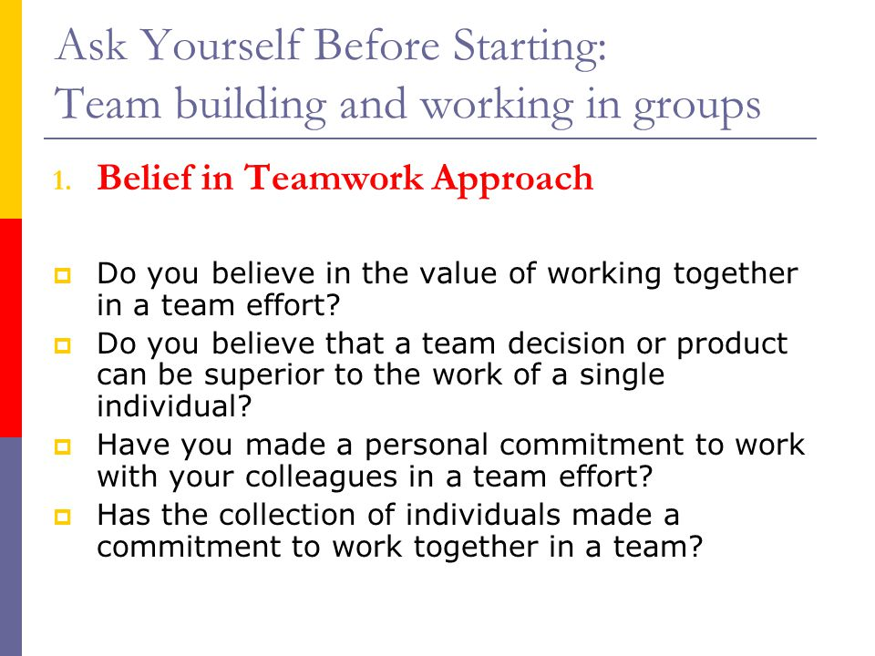 Ask Yourself Before Starting: Team building and working in groups