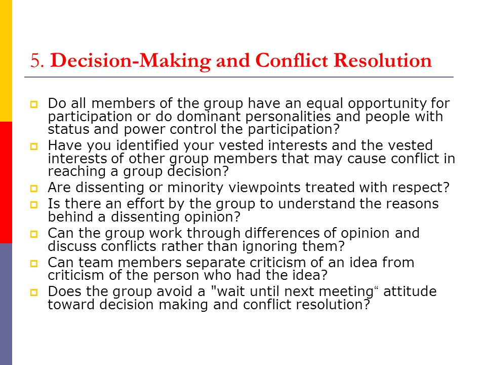 5. Decision-Making and Conflict Resolution