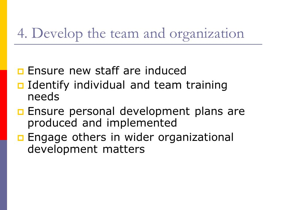 4. Develop the team and organization