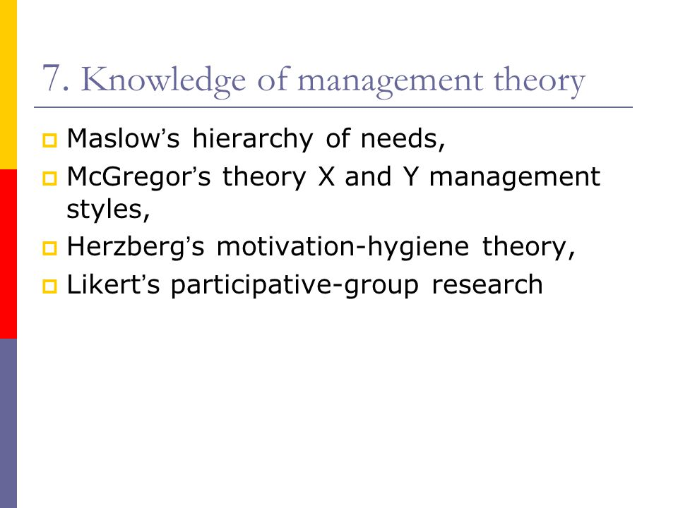 7. Knowledge of management theory