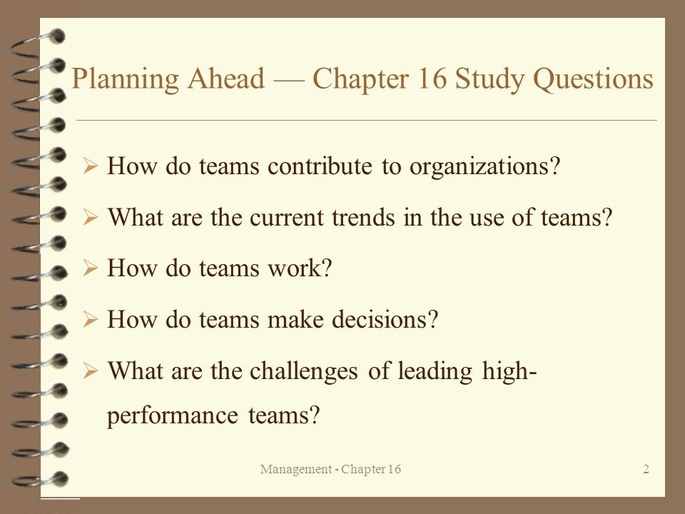 Planning Ahead — Chapter 16 Study Questions