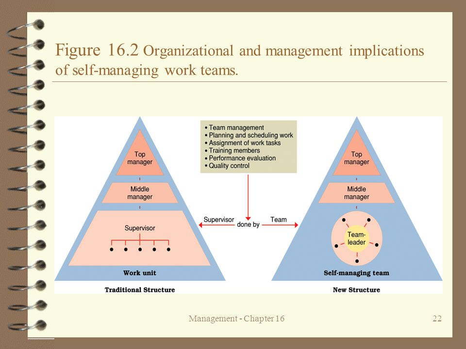 Figure 16.2 Organizational and management implications of self-managing work teams.