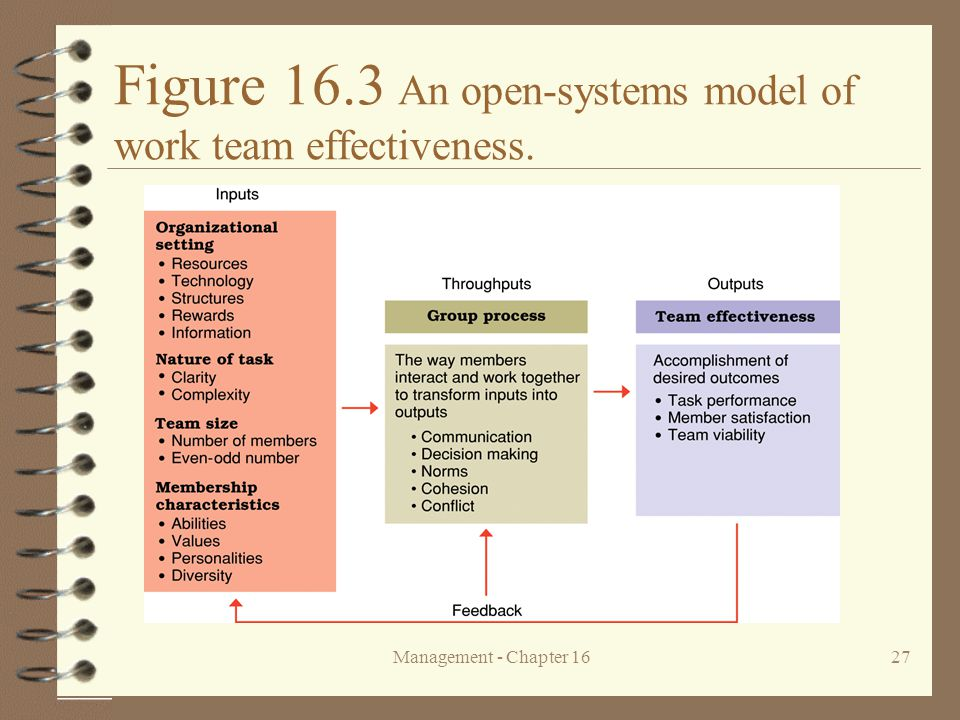 Figure 16.3 An open-systems model of work team effectiveness.