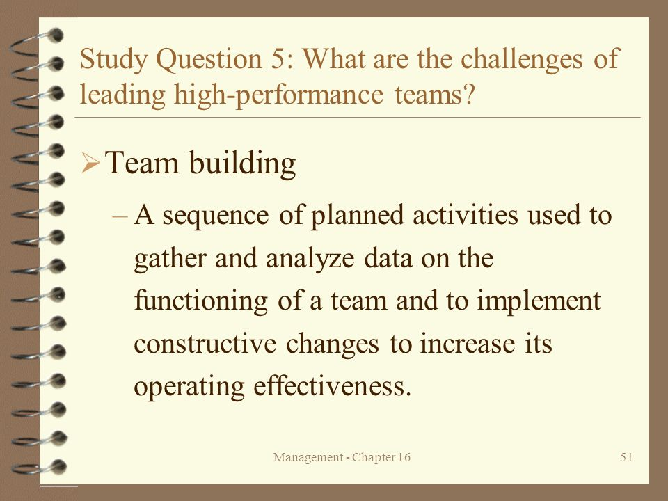 Study Question 5: What are the challenges of leading high-performance teams