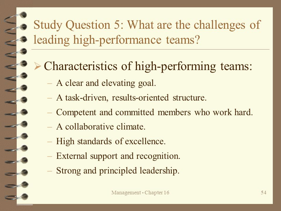 Characteristics of high-performing teams: