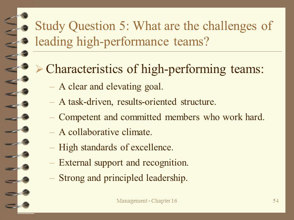 Characteristics of high-performing teams: