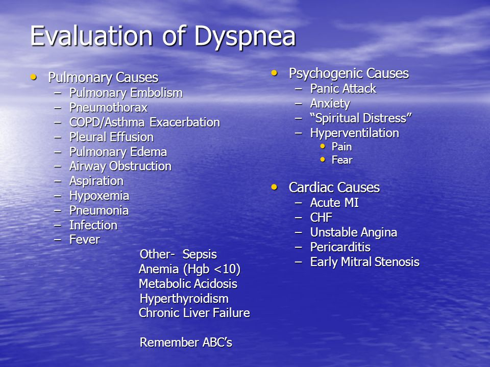 Evaluation of Dyspnea Psychogenic Causes Pulmonary Causes