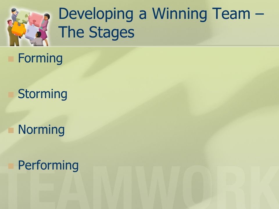 Developing a Winning Team – The Stages