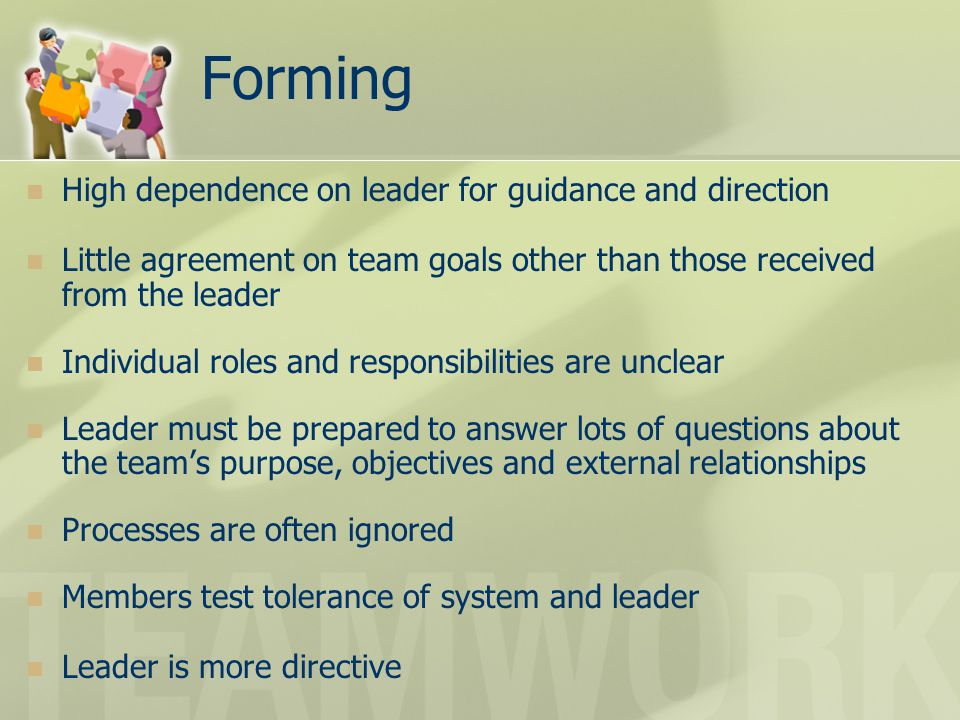 Forming High dependence on leader for guidance and direction