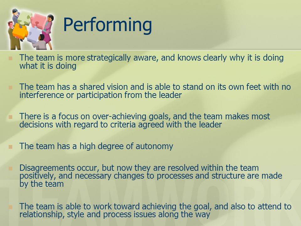 Performing The team is more strategically aware, and knows clearly why it is doing what it is doing.