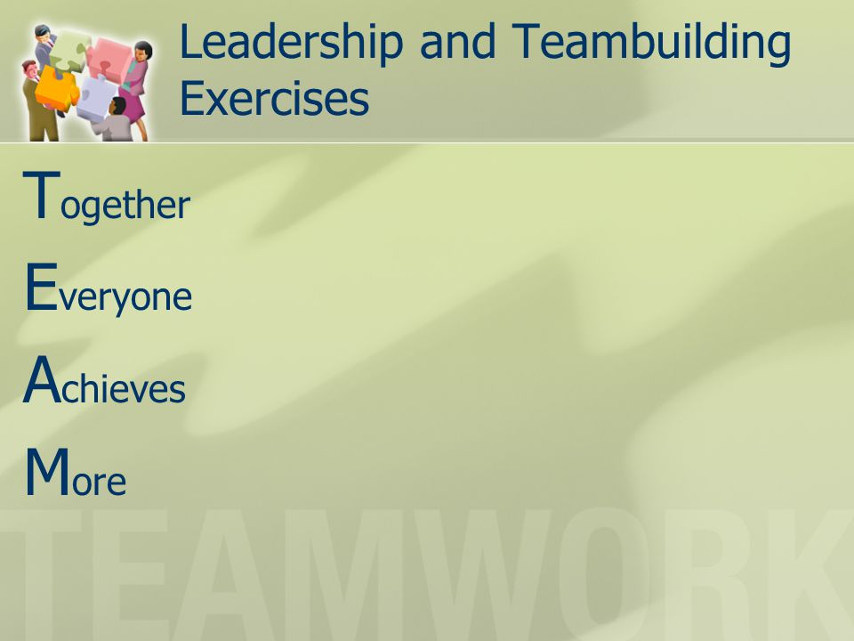 Leadership and Teambuilding Exercises