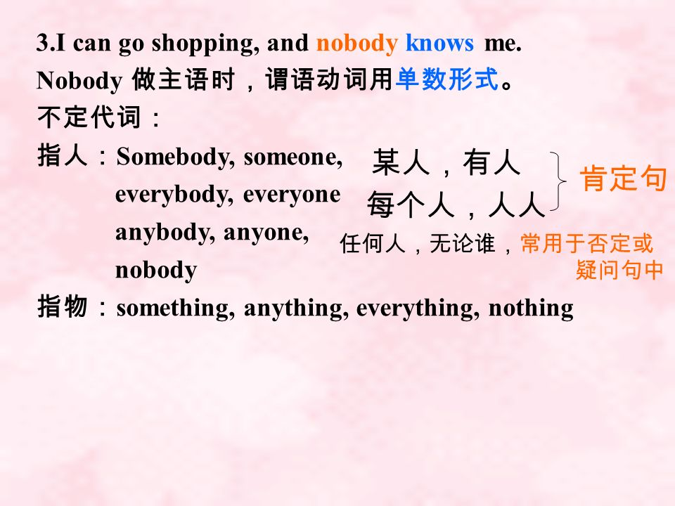 某人,有人 肯定句 每个人,人人 3.I can go shopping, and nobody knows me.